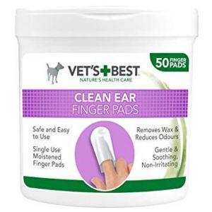 Degetare curatare urechi pentru caini, Vet's Best, 100 buc