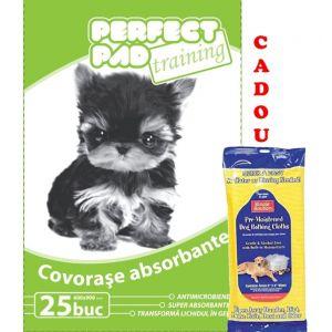 Covorase absorbante (25 buc) Perfect Pad 60x90 cm 25buc/pachet + cadou servetele umede caini