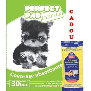 Covorase absorbante (30 buc) Perfect Pad 60x60 cm 30 buc/pachet + cadou servetele umede caini