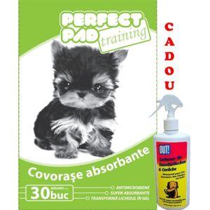 Covorase absorbante (30 buc) Perfect Pad 60x60 cm 30 buc/pachet + cadou solutie pete mirosuri caini